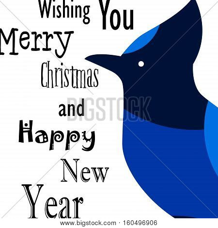 Wishing you Merry Christmas and Happy New Year card with Blue Jay. Flat design. Vector