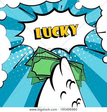 Happy New Year vector card with rooster wing and bundle of money. Lucky. Comics style.