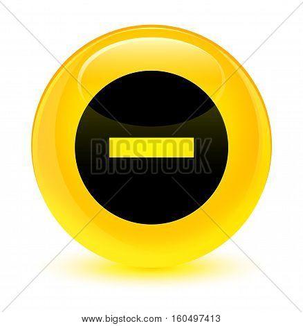 Cancel Icon Glassy Yellow Round Button