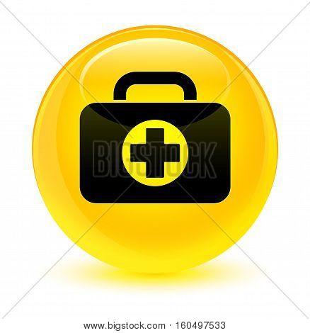 First Aid Kit Bag Icon Glassy Yellow Round Button