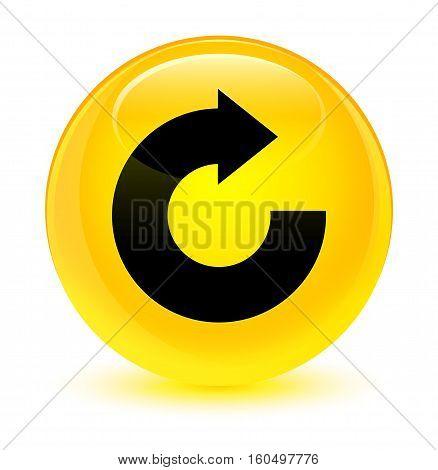Reply Arrow Icon Glassy Yellow Round Button
