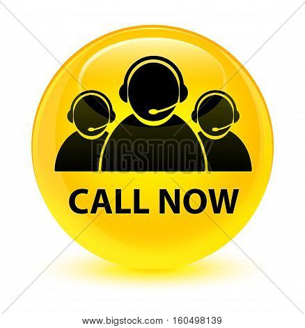 Call Now (customer Care Team Icon) Glassy Yellow Round Button
