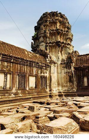 Corner Gallery Of Angkor Wat. Siem Reap, Cambodia