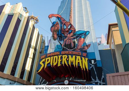 ORLANDO USA - NOVEMBER 1 2016: Entrance to SpiderMan ride. Universal Studios Orlando is a theme park resort in Orlando Florida USA