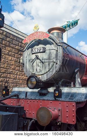 ORLANDO USA - NOVEMBER 1 2016. Front of Hogwarts Express Train at Wizarding World of Harry Potter at Islands of Adventure Universal Studios Orlando Florida.