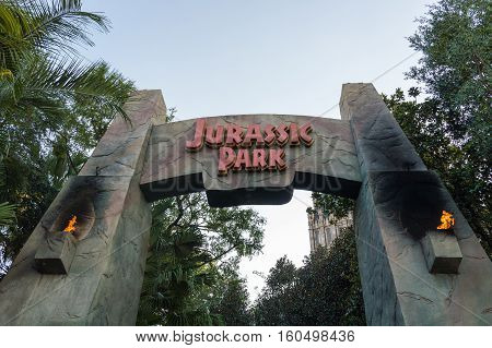 ORLANDO USA - NOVEMBER 1 2016: Entrance to Jurassic Park ride. Universal Studios Orlando is a theme park resort in Orlando Florida USA