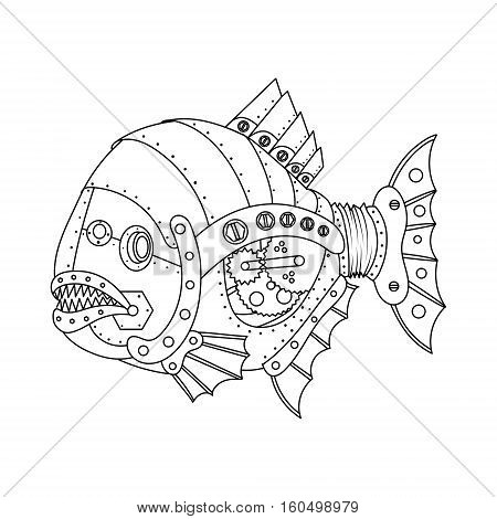 Steampunk style piranha fish. Mechanical animal. Coloring book for adult vector illustration.