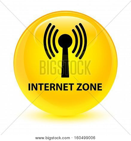 Internet Zone (wlan Network) Glassy Yellow Round Button