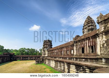 Wall Of Gallery And One Of Towers Ancient Angkor Wat, Cambodia