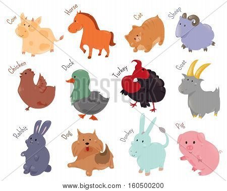 Set of cute cartoon farm animal icon. illustration for funny domestic fauna design. Cow, horse, cat, sheep, chicken, duck, turkey goat rabbit dog donkey pig isolated on white background