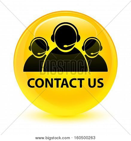Contact Us (customer Care Team Icon) Glassy Yellow Round Button