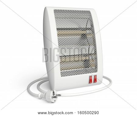 3d Illustration of white Quartz Heater isolated on a white background.