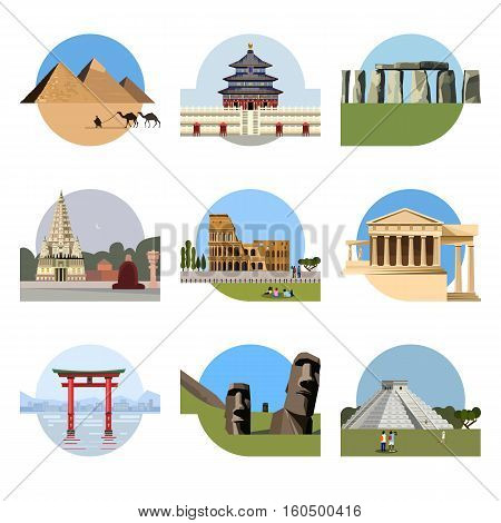 World landmarks flat icon set. travel illustration. Monument sign. Egypt pyramid, Temple of Heaven, Stonehenge, Mahabodhi, Colosseum, Italy Pantheon torii gate Moai Mesoamerican pyramids