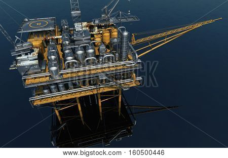 Oil production into the sea,3d render