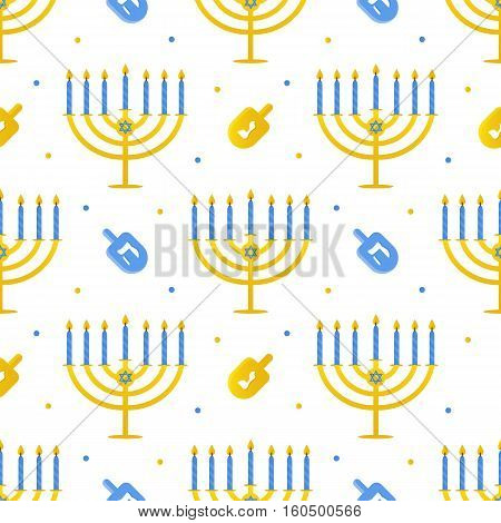 Hanukkah vector seamless pattern background with menorah and dreidel. Jewish traditional holiday.