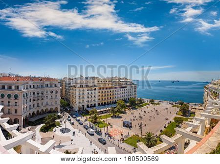 View of Aristotelous square the heart of Thessaloniki city Greece