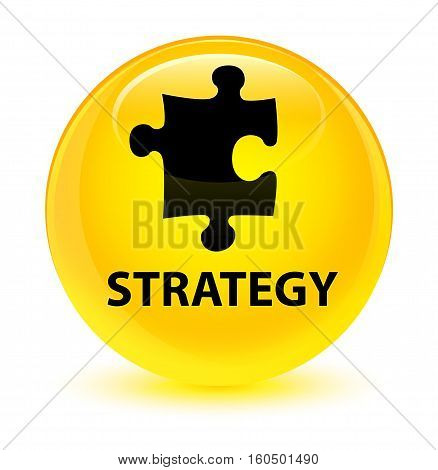 Strategy (puzzle Icon) Glassy Yellow Round Button
