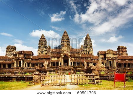 East Facade Of Ancient Temple Angkor Wat In Siem Reap, Cambodia
