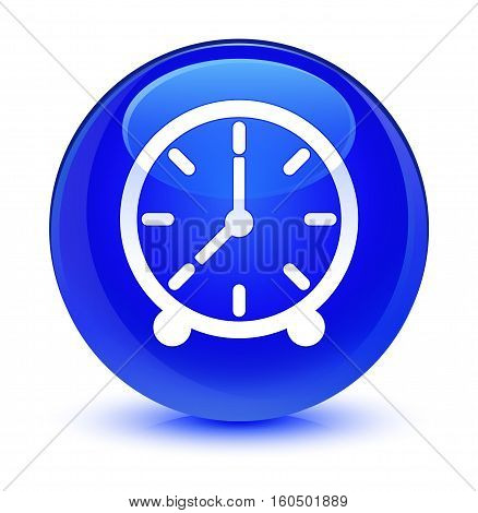 Clock Icon Glassy Blue Round Button
