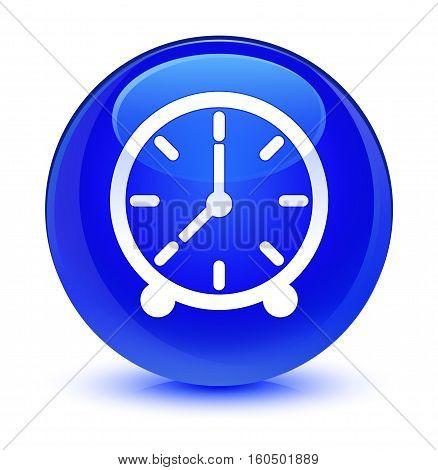 Clock Icon Glassy Blue Round Button