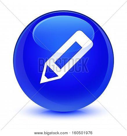 Pencil Icon Glassy Blue Round Button