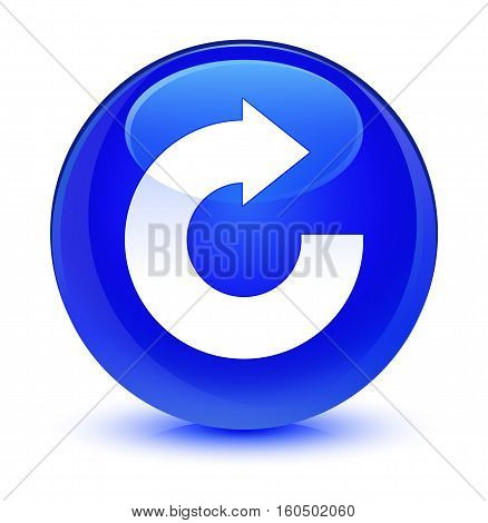 Reply Arrow Icon Glassy Blue Round Button