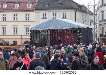 Brno,Czech Republic-November 26,2016: People browsing market stalls at Christmas market on the Cabbage Market on November 26, 2016 Brno Czech Republic