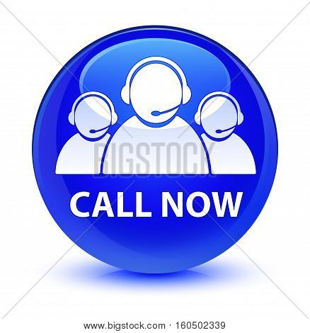Call Now (customer Care Team Icon) Glassy Blue Round Button