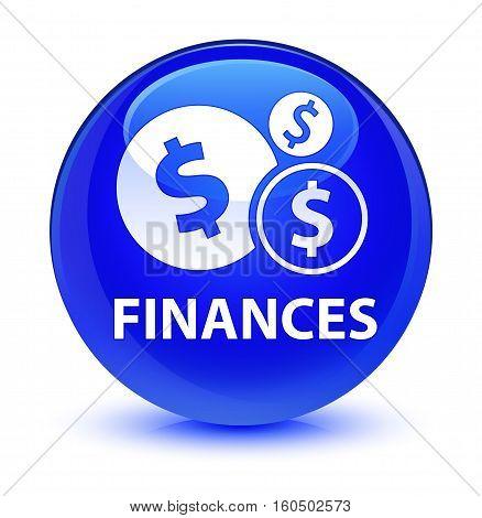 Finances (dollar Sign) Glassy Blue Round Button