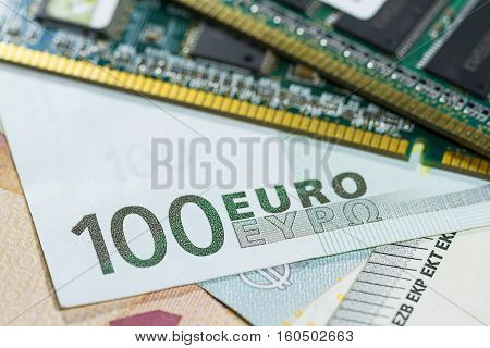 One hundred Euro banknote bill close up