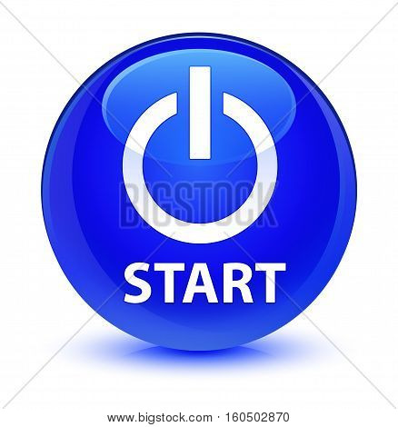 Start (power Icon) Glassy Blue Round Button