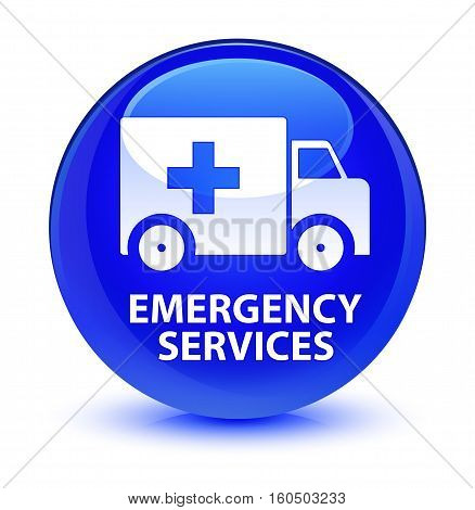 Emergency Services Glassy Blue Round Button