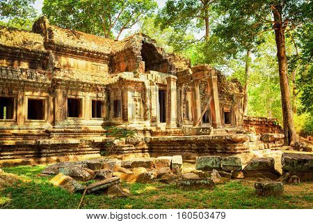 Mysterious Ruins Of Ta Kou Entrance In Angkor Wat, Cambodia