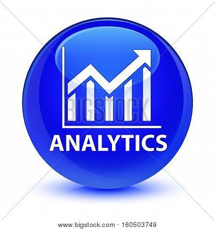 Analytics (statistics Icon) Glassy Blue Round Button