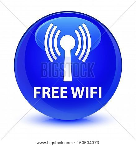 Free Wifi (wlan Network) Glassy Blue Round Button