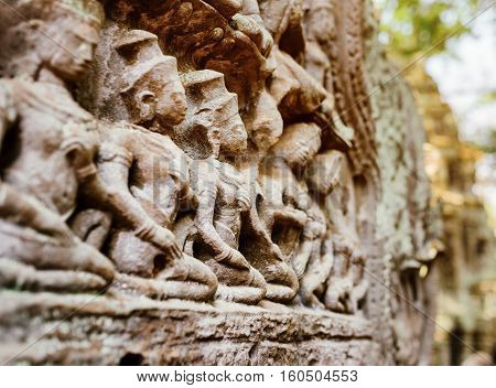 Bas-relief At Ancient Ta Prohm Temple In Angkor, Cambodia