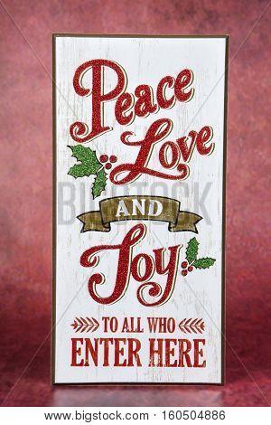 A joyful sign decoration for the Christmas holiday