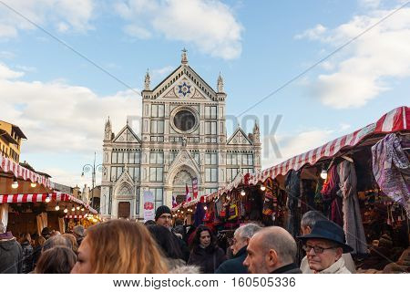 Tourists Visits The Christmas Market In Florence