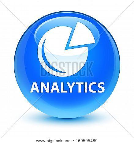 Analytics (graph Icon) Glassy Cyan Blue Round Button