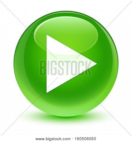 Play Icon Glassy Green Round Button