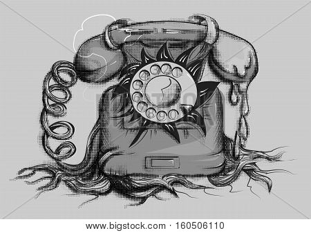 retro rotary dial telephone isolated on gray background