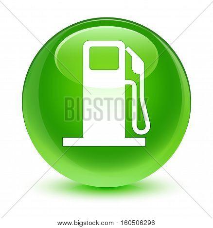 Fuel Dispenser Icon Glassy Green Round Button