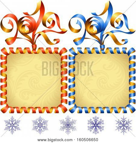 Vector New Year 2017 square frame set isolated on white background. Red and blue streamer