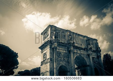 The Arch of Titus located on the Via Sacra south-east of the Roman Forum, Rome, Italy