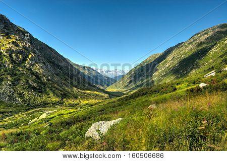 Green valley in the swiss Alps, Ticino, Switzerland.