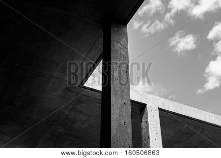 Black and White Concrete Architecture Detail taken from David Chipperfields San Michele Cemetery extension Venice Italy