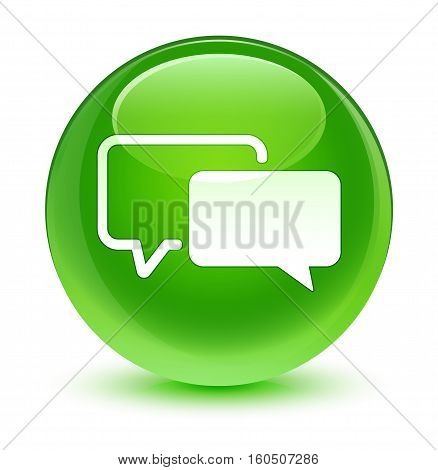 Testimonials Icon Glassy Green Round Button