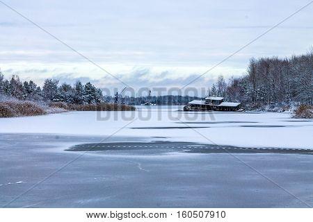 Lake exiting the Pripyat river to the river port Pripyat.
