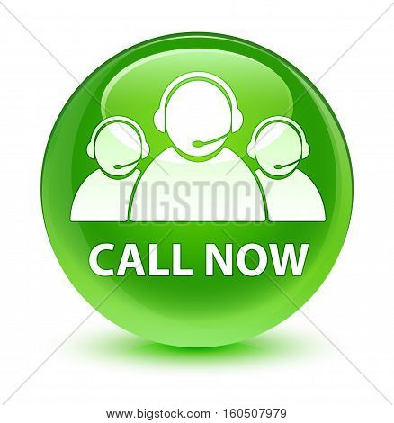 Call Now (customer Care Team Icon) Glassy Green Round Button
