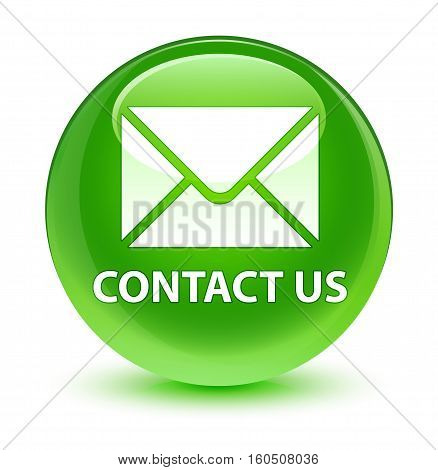 Contact Us (email Icon) Glassy Green Round Button